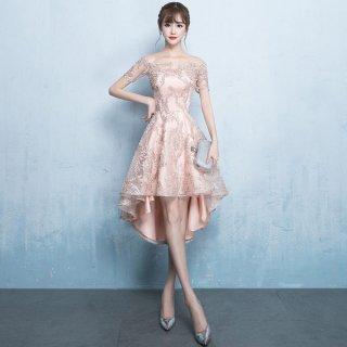 韓国ワンピース❤華やかなデザインでパーティー会場で輝く存在に♪オフショルダーとフィッシュテールがカワイイミニドレス