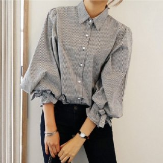 韓国リボン❤シャツ ストライプで袖のリボンが可愛いパフスリーブシャツ!