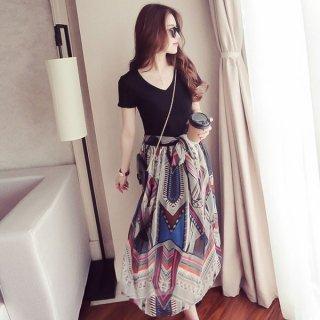 韓国切り替え❤ワンピ スカートがレトロなセットアップ風の切り替えワンピース♪