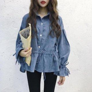 韓国ブラウス❤コーデュロイでフレアが素敵なシャツブラウス♪