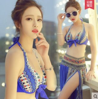 韓国水着❤鮮やかデザインでパレオ付きで体型隠しOK♪ビキニ水着