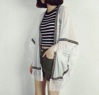 韓国カーディガン❤流行りのフリンジで軽やかに着たい♪カーディガン