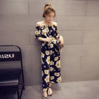 韓国オールインワン❤花柄オフショルダーでトレンド満点♪オールインワン