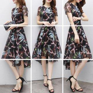 韓国ワンピース❤大胆な花柄とフィッシュテールな裾が大人カワイイ♪ワンピース