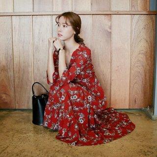 韓国ワンピース❤綺麗な花柄で大人カワイイ♪カシュクール風マキシワンピース