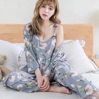 韓国ルームウエア❤綺麗な花柄♪ローブがあるから突然誰か来ても大丈夫!3点セットルームウエア