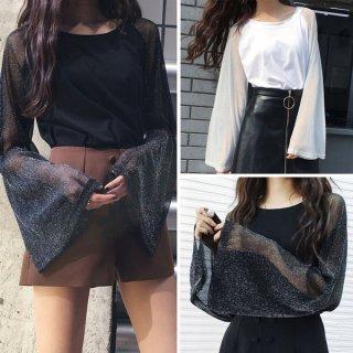 韓国トップス❤ダボダボ感満載のフレア袖が可愛いTシャツ