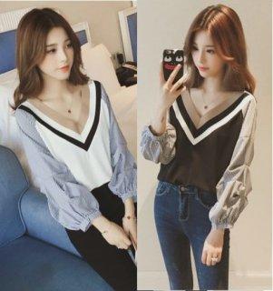 韓国トップス❤ブラウス 胸元までくるVネックにドキッとするバルーンスリーブなシャツ