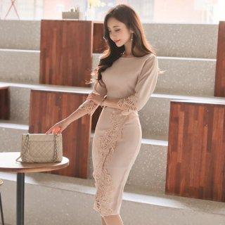 韓国ワンピース❤ドレス 華やかなワンポイントのレースとドルマン気味の袖がナチュラル!