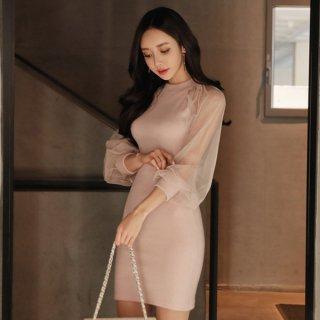 韓国ワンピース❤ドレス 清楚な感じで袖のシースルーがセクシー