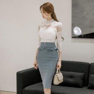 韓国ワンピース❤ドレス 清楚上品感満載!異素材タイトスカートがあなたを引き立てるセットアップ!
