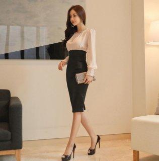 韓国ワンピース❤ドレス ハイウエストスカートで足長お姉さんに変身!