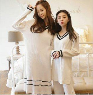 韓国ルームウエア❤パジャマ 手軽に着れてすんごく可愛い、ワンピ・トップス・ズボンの3点セット