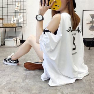 韓国トップス❤Tシャツ オフショルダーダボダボ感が可愛いスポーティなシャツ
