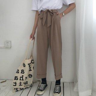 韓国パンツ❤ウエストリボンで韓国ファッションなサルエルパンツ!