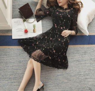 韓国ワンピース❤シースルー花柄刺繍で可愛い綺麗なイメージにしたい方へ!