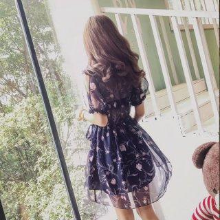 韓国ワンピース❤シースルー肩見せチラリがセクシー&ガーリー!花柄の可愛いワンピ!