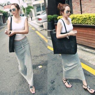 韓国スカート❤買い物や普段着にぴったり!スリット入りカジュアルなペンシルスカート!