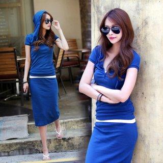 韓国セットアップ❤斬新な青色!白や黒と組合わせると都会的でシャープな感じに!赤っぽい色と組合わせるとアクティブな感じに!お試しあれ!
