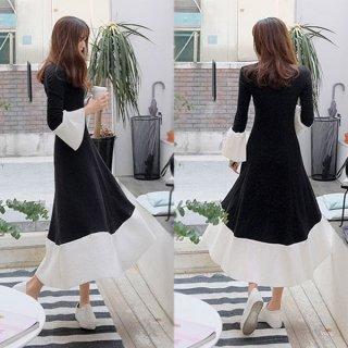 韓国ワンピース❤バイカラーで袖フレアと裾のホワイトが何か幻想的!