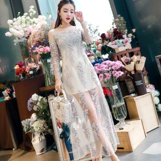 韓国ドレス?ワンピース 幻想的な花柄刺繍のシースルーで上品清楚なパーティドレス!