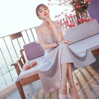 韓国即納グレーSドレス❤ワンピース セレブ感満載のオフショルダーパーティドレス