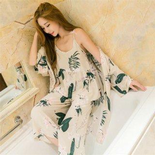 韓国ルームウエア?パジャマ ガウン・キャミソール・ワイドパンツ さわやかな雰囲気の可愛い部屋着!