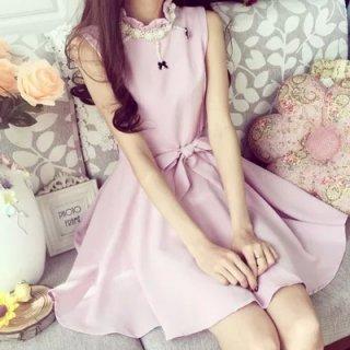 韓国お嬢様ワンピース❤ノースリーブでウエストリボンが可愛い!高級感ある上品素材のAラインワンピ