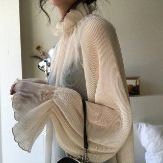 韓国トップス?ブラウス 韓国ファッションうっすら、透け感シースルーなおしゃれ感のトップス