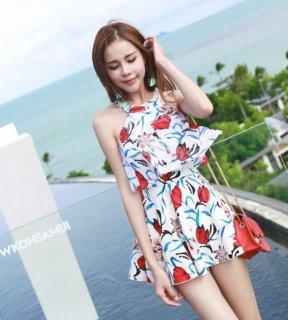 韓国水着❤大人な感じの葉っぱ柄が素敵なホルターネックワンピース水着!