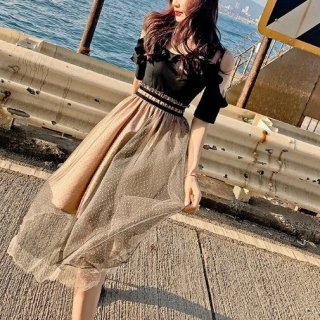 韓国ワンピース❤人気のオフショルダーにスカートのシースルードット柄で大人女子へのワンピ