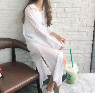 韓国シャツワンピ❤日よけに羽織るのに最適なロングサイズの襟付きシャツ