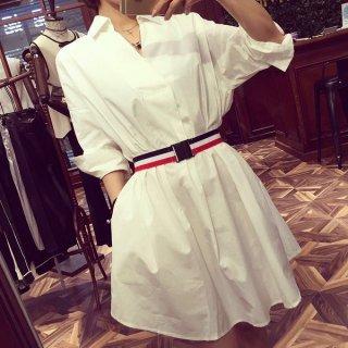 韓国シャツワンピ❤フランス柄のベルトがワンポイントなシャツワンピース