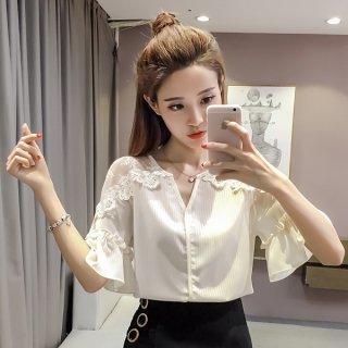 韓国トップス❤ブラウス Vネックで肩のシースルーがチラリとお洒落なブラウス