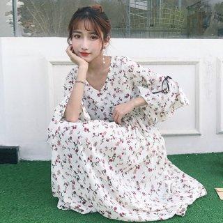 韓国ワンピース❤袖のリボンとフレア感がワンポイント♪ミモレ丈ワンピース