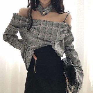 韓国トップス❤ブラウス 韓国ファッション オフショルダーフレア袖のカッコいいブラウス
