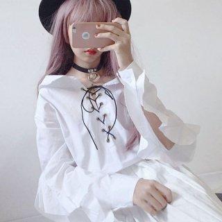 韓国トップス❤ブラウス めちゃ可愛い編み上げ袖フリルのブラウス!