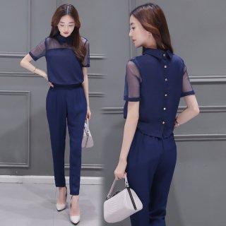 韓国セットアップ❤袖とデコルテの透け感が大人カワイイ♪セットアップ