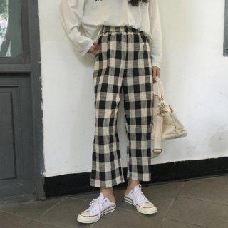 韓国チェックパンツ❤9分丈、すんごく可愛い韓国ファッションチェック柄!