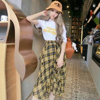 韓国セットアップ❤半袖Tシャツと、とっても可愛いイエローティアードスカートのセット!