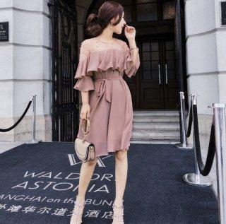 韓国ドレス❤ワンピース オフショルサーシースルーの韓国ファッション的なパーティドレス!