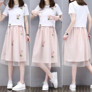 韓国ワンピース❤シフォンスカートの切り替えワンピ!韓国ファッション花柄刺繍、可愛すぎて選んじゃいました!