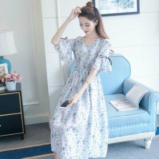 韓国ワンピース❤カウィイ袖フレアリボン!韓国ファッション花柄ワンピ