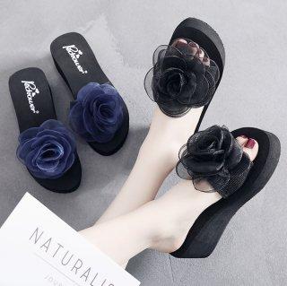 韓国厚底リボンサンダル❤一輪の可憐なバラがあなたの足元を素敵にします!