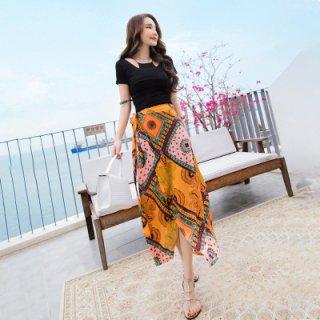 韓国セットアップ❤夏にぴったり気品あふれるトップスとスカートのセット!