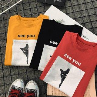 韓国Tシャツ❤トップス 韓国オルチャン原宿系スタイル BF 半袖Tシャツ ルーズな形 ダボダボ!