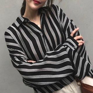 韓国ブラウス❤トップス レトロストライプのお洒落な韓国ファッション