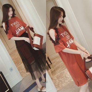韓国ワンピース❤肩チラ見せのロングTシャツワンピにシースルーなチュールスカートが付いた個性的な可愛いセットワンピ!