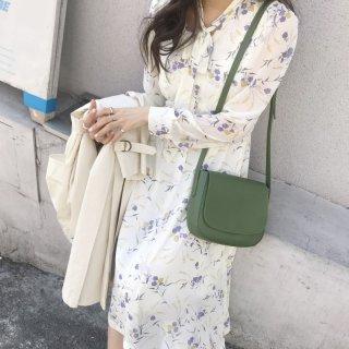 韓国ワンピース❤ボウタイリボンとシースルーでちょっとゆるふわガーリーな感じの花柄ワンピ