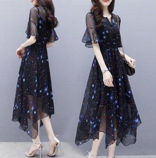 韓国ワンピース❤お星さまがキラキラと可愛いシースルーのドレスワンピ!